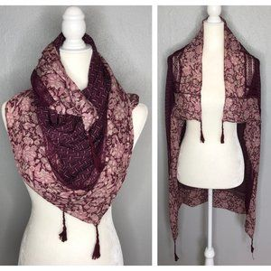 Floral Square Scarf Woven Burgundy Tassel Wrap